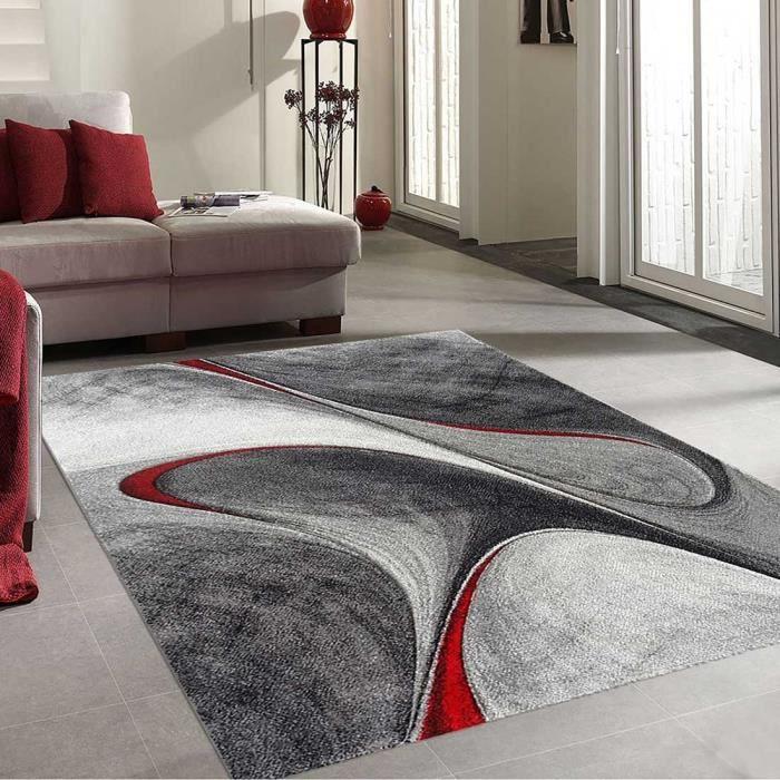 UNAMOURDETAPIS Immense tapis salon moderne et design Madila - 280 x 380 cm - Rouge, gris et noir
