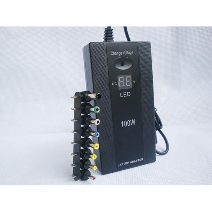 100W adaptateur universel pour ordinateur portable avec / écran LED voiture ménages chargeur d'énergie portable multifonctionnel