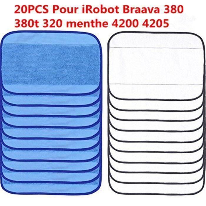 Chiffons De Nettoyage En Microfibres Serviettes Mopping Lingettes Nettoyeur 20PCS Pour Irobot Braava 380 380T 320 Mint 4200 42051