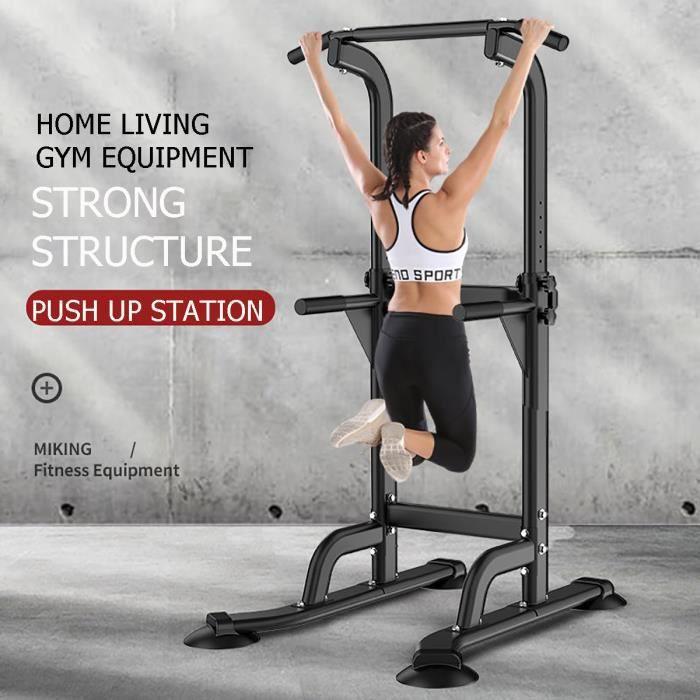 Barre de Traction Hauteur Ajustable Station Musculation Dips Station