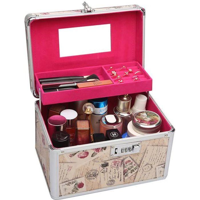 Vintage Vanity Case Rigide Mallette À maquillage Coffre cosmÉtique BoÎte de rangementpour Bijoux et produits de maquillage