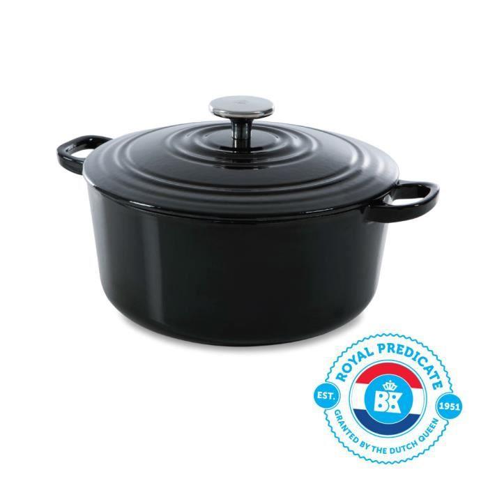 BK Cookware H6071.528 BK Bourgogne Cocotte en Fonte Ronde - 28 cm - 6.7L - Revêtement émaillé - Couvercle avec Anneaux