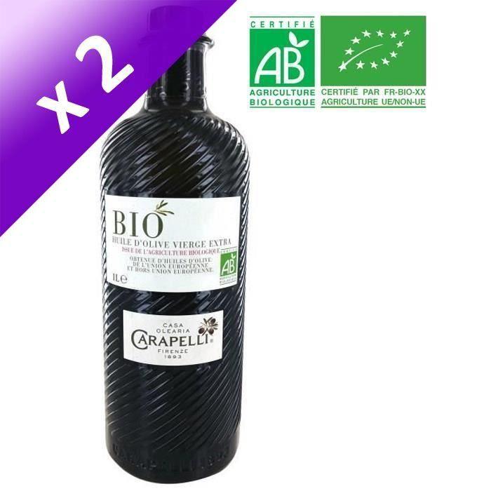[LOT DE 2] CARAPELLI Huile d'olive - Vierge extra - Bio - 1L