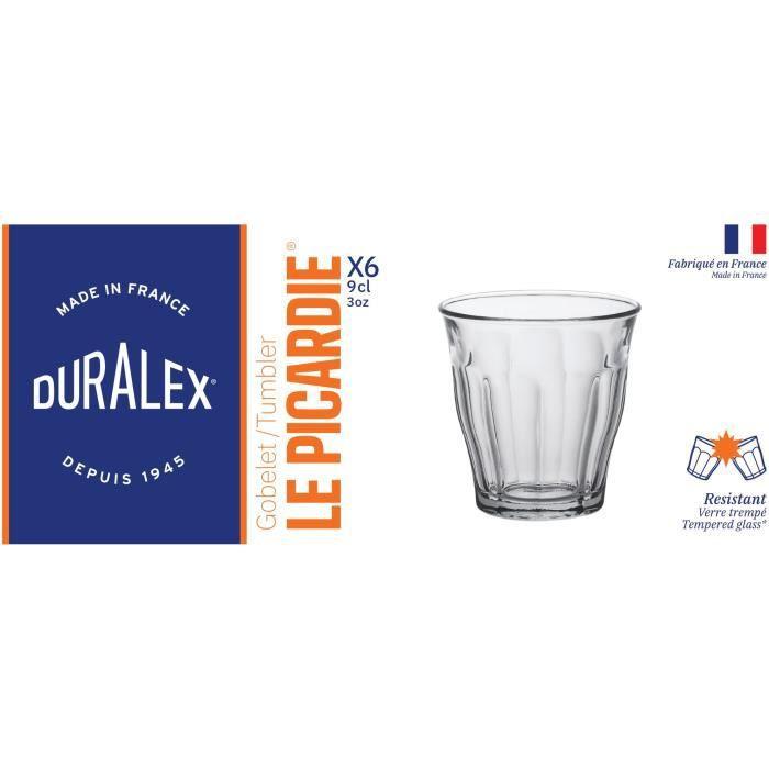 DURALEX Lot de 6 verres gobelets PICARDIE - 9 cl