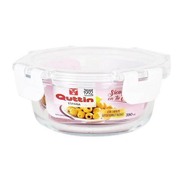 Lunch box avec fermeture hermétique Ronde Acrylique Transparent boite repas Capacité - 390 cc - Ø 14