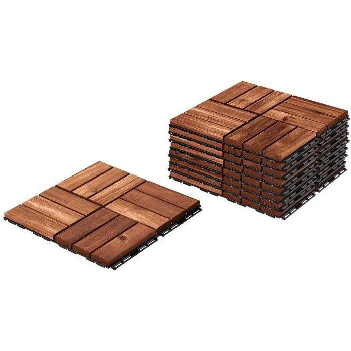 Lot de 11 Dalles de Terrasse Clipsable en Bois 31 X 31 cm Hobby Tech