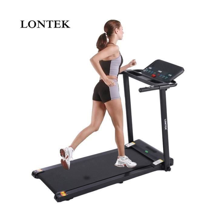 LONTEK P5 Tapis de Course Pliable, Vitesse Jusqu'à 10 km / h, Fréquence Cardiaque,12 Programmes