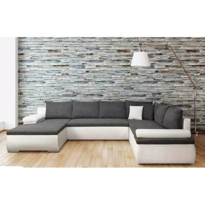 Canapé d'angle convertible CESARO u 7 places gris et blanc