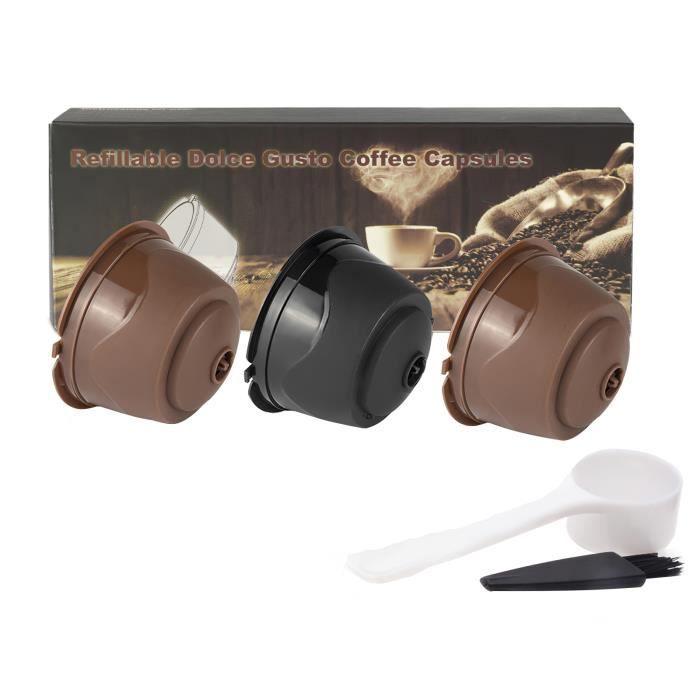 dolce gusto café capsule tasse-2 marron 1 noir 1 cuillère 1 pinceau