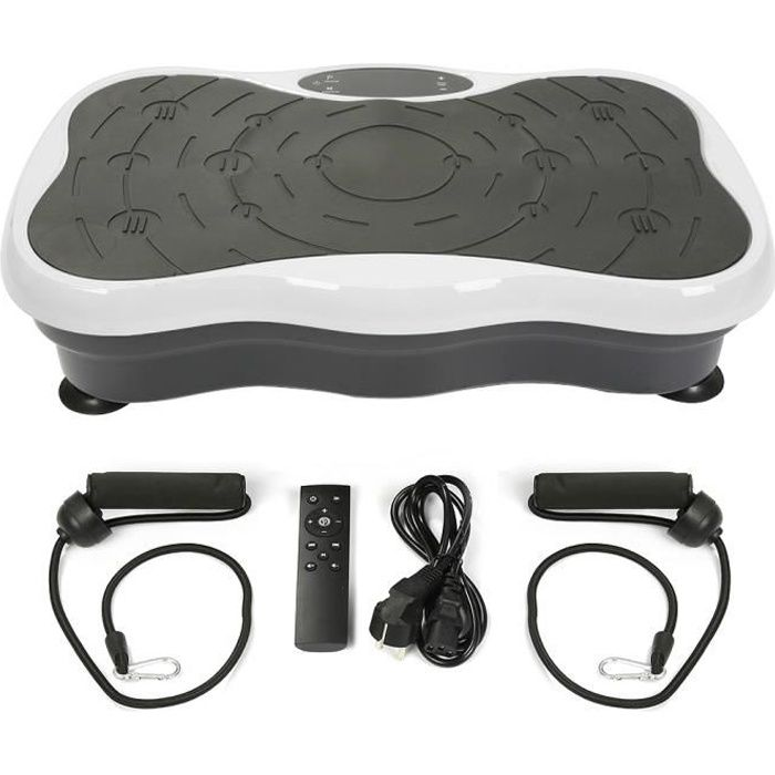 Plateforme Vibrante Oscillante,Ecran LCD + Audio Bluetooth + USB + télécommande, Blanc/Noir