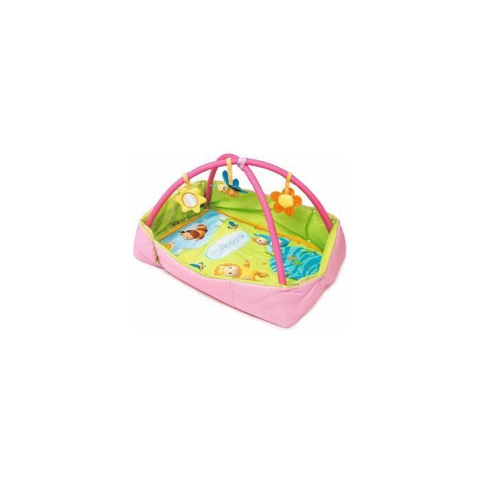 Tapis avec arche de Jeux / Aire d eveil bebe 2 en 1 Cotoons Rose Fille - 123x94x50cm / 88x57x50cm - Smoby