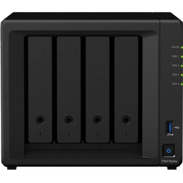 SYNOLOGY - Serveur de Stockage (NAS) - DS418PLAY - 4 Baies - Processeur Intel Celeron Dual Core - 2 Go RAM DDR3L - Boitier nu