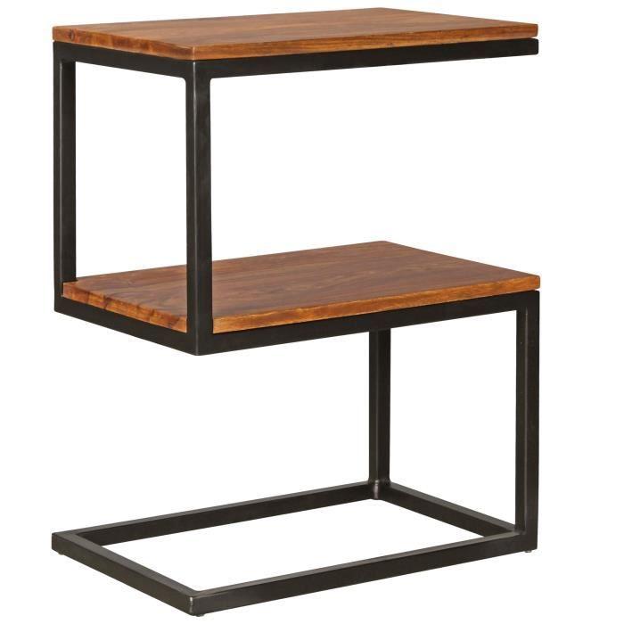 Table d'appoint en forme de S en bois massif Table basse Sheesham Table basse Maison de campagne