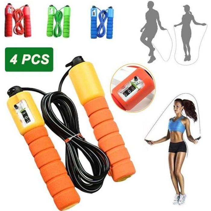 4PCS Corde à Sauter - Jump Skipping Rope Compteur intégré Réglable Câble pour Fitness, Boxe, Gym, Aérobie