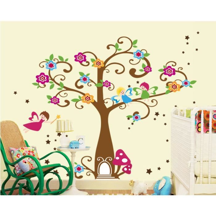 arbre aux fleurs color es et petits lutins stickers muraux. Black Bedroom Furniture Sets. Home Design Ideas