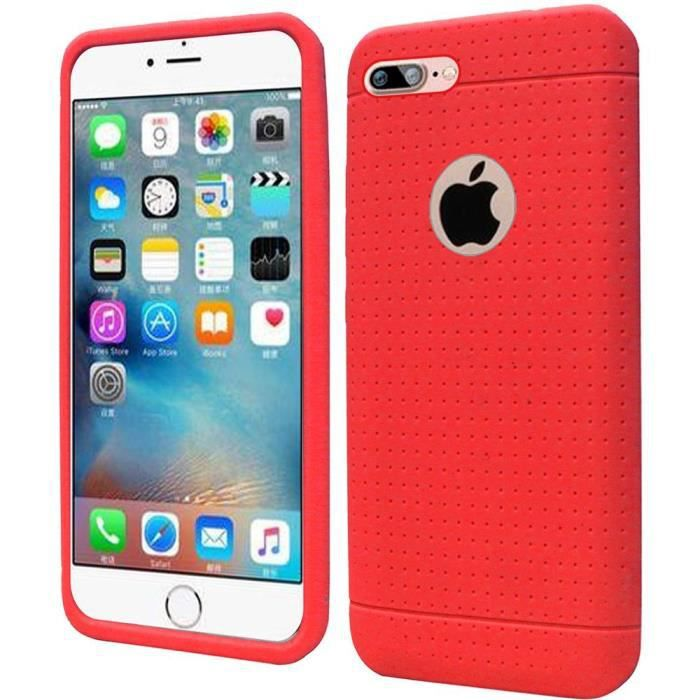 coque iphone 7 plus silicone apple rouge