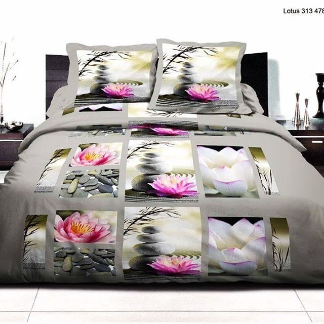 parure housse de couette lotus 220x240 2 taies d 39 oreillers parure de lit 220x240 housse de. Black Bedroom Furniture Sets. Home Design Ideas