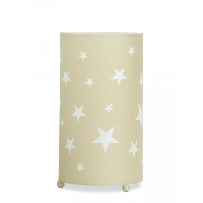 lampe de chevet pour chambre gar on b b et enfant design motif toiles beige taupe achat. Black Bedroom Furniture Sets. Home Design Ideas