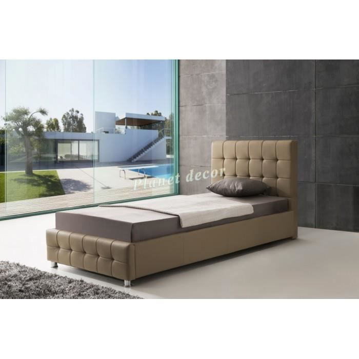 lit 90x200 cm en simili cuir taupe avec t te de lit capitonn e achat vente lit complet lit. Black Bedroom Furniture Sets. Home Design Ideas