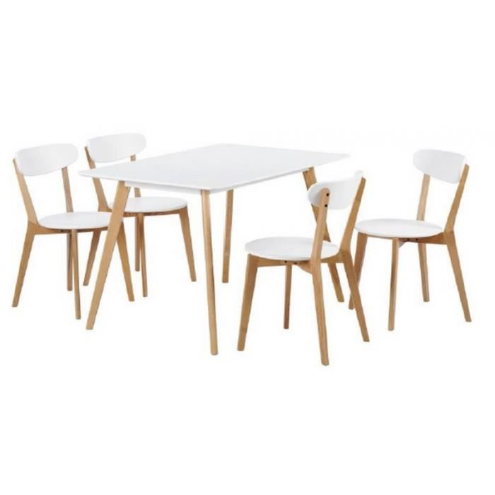 table repas 160 cm et 4 chaises coque blanches et ch ne achat vente table de cuisine table. Black Bedroom Furniture Sets. Home Design Ideas