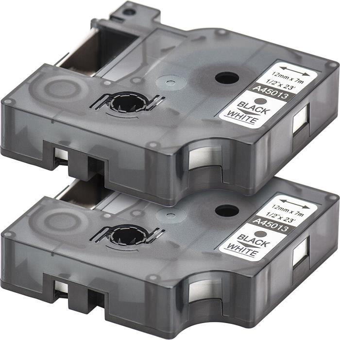 LM220P LM160 LMPC2 LM260 LM150 LM120P LM210D LM200 L MultiPack 5 Cassette de ruban /à /étiqueter avec Dymo D1 45013 en noir sur blanc 12mm x 7m pour LabelManager LabelPoint LabelWriter pour DYMO LabelPOINT /& LabelManager LM100