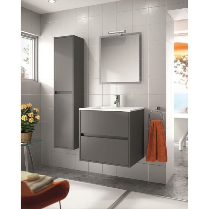 meuble salle de bain suspendu 70 cm couleur gris achat vente meuble vasque plan meuble. Black Bedroom Furniture Sets. Home Design Ideas