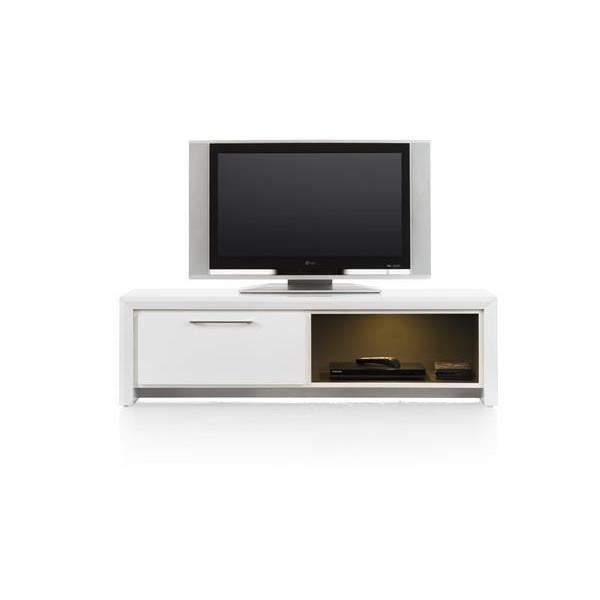 meuble tv 140 cm acacia massif blanc kozani h h achat. Black Bedroom Furniture Sets. Home Design Ideas
