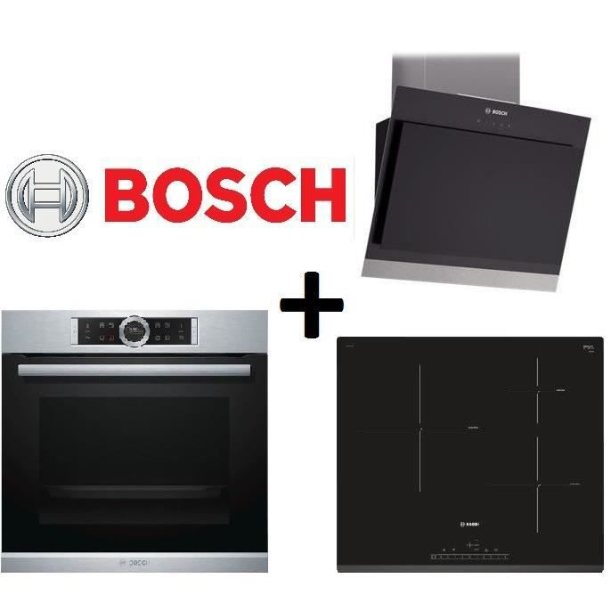 Pack cuisson bosch hbg675bs1f four chaleur tournante 71l for Table induction bosch