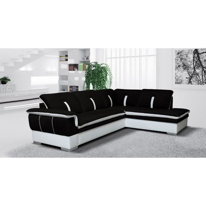 canap d 39 angle marion noir blanc angle droit achat vente canap sofa divan les soldes. Black Bedroom Furniture Sets. Home Design Ideas