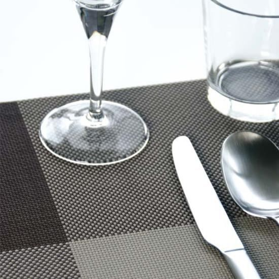 4 sets de table noir argent zarah achat vente set de for Sets de table rigides