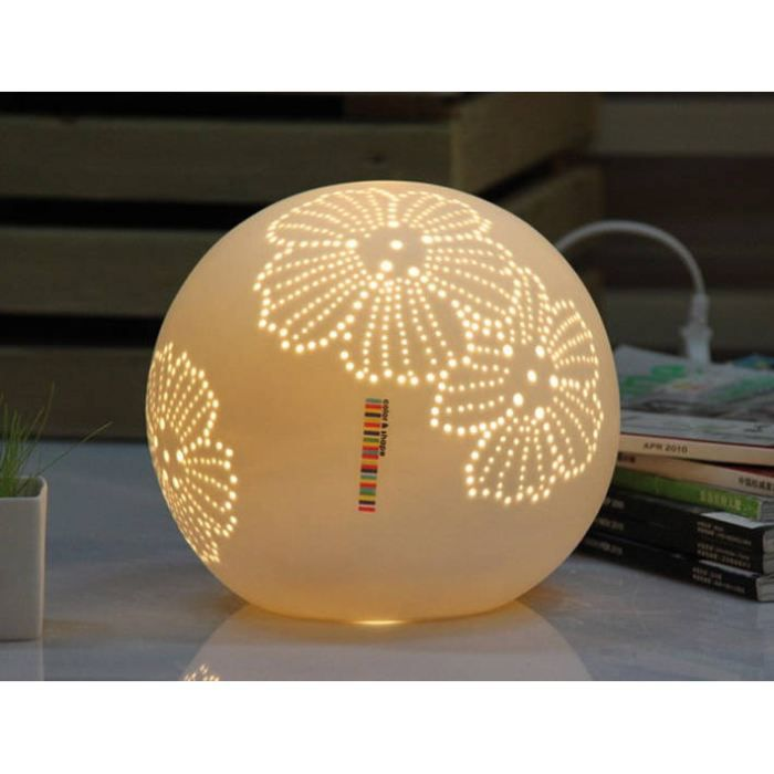 lampe boule fleurs en c ramique blanche 21x21 achat. Black Bedroom Furniture Sets. Home Design Ideas