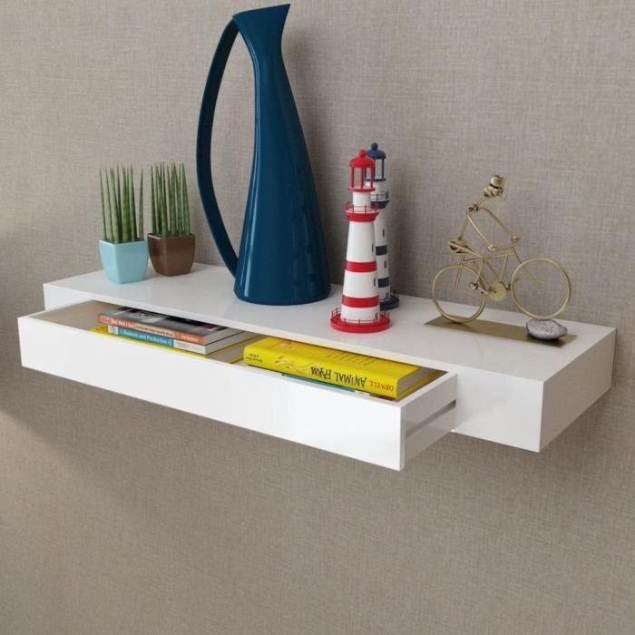 etagere murale en mdf blanc avec 1 tiroir pour dvd livres 80 x 25 x 8 cm