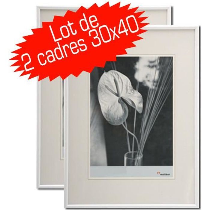 lot de 2 cadres photo galeria 30x40 cm blanc achat vente cadre photo cdiscount. Black Bedroom Furniture Sets. Home Design Ideas