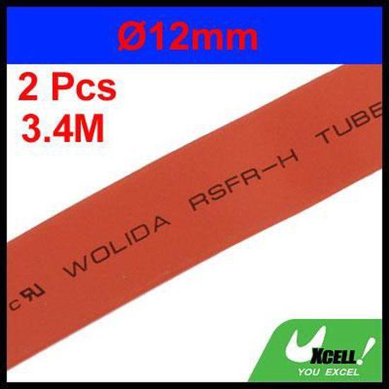 sourcing map 2mm Dia Polyol/éfine 2:1 Gaine thermor/ét Gaine noir Tube Long 3.4M