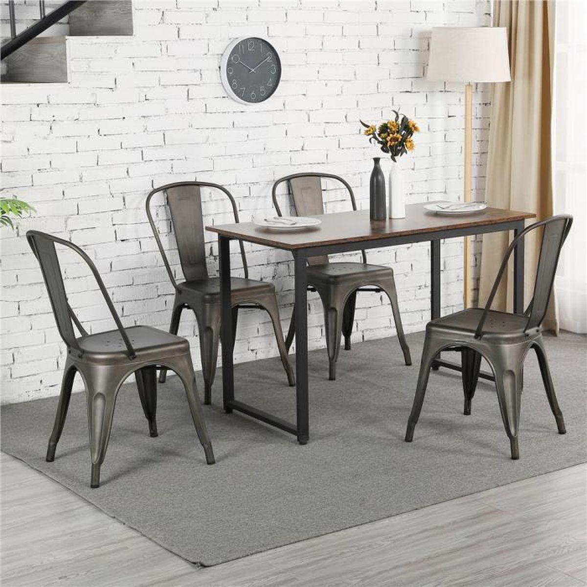 Chaise Bois Et Metal Industriel lot de 4 chaises de salle a manger style industriel en metal