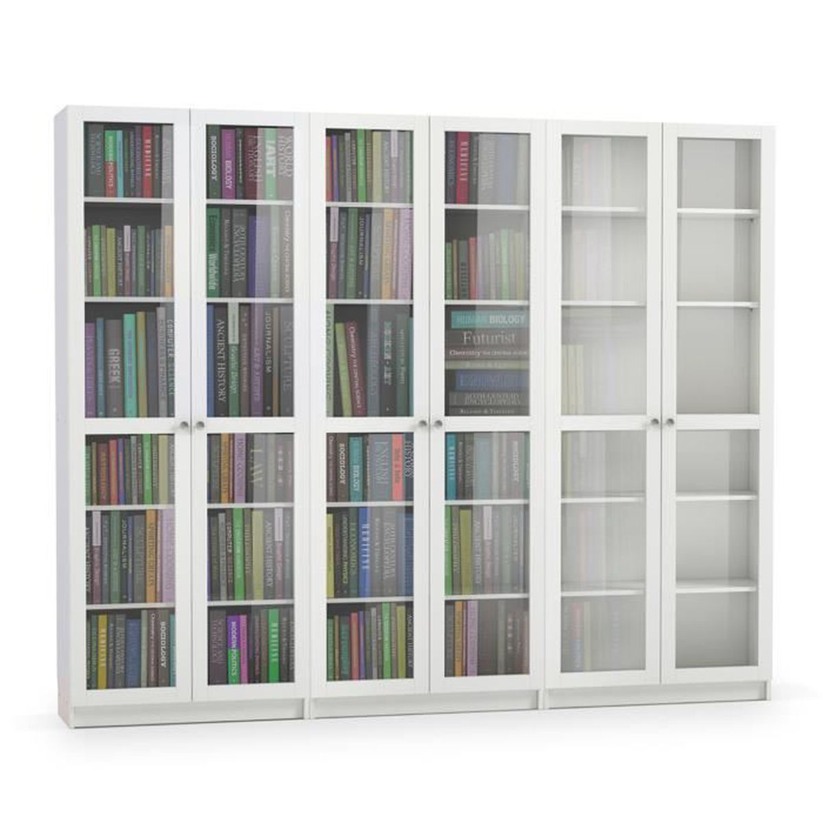 biblioth que coloris blanc en mdf et verre dim 200 x 240 x 27 cm achat vente. Black Bedroom Furniture Sets. Home Design Ideas