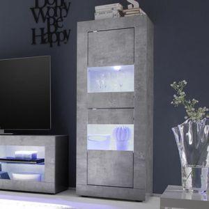 VITRINE - ARGENTIER Vitrine LED effet béton gris clair design ARIEL 4