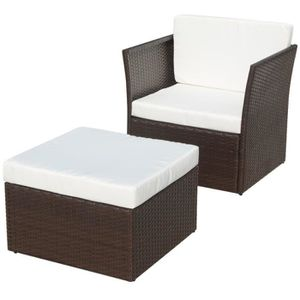SALON DE JARDIN  Chaise de jardin avec tabouret Marron Résine tress