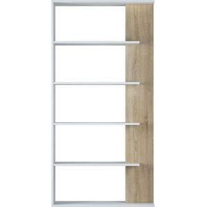 BIBLIOTHÈQUE  Bibliothèque avec 5 étagères coloris Blanc - Chêne