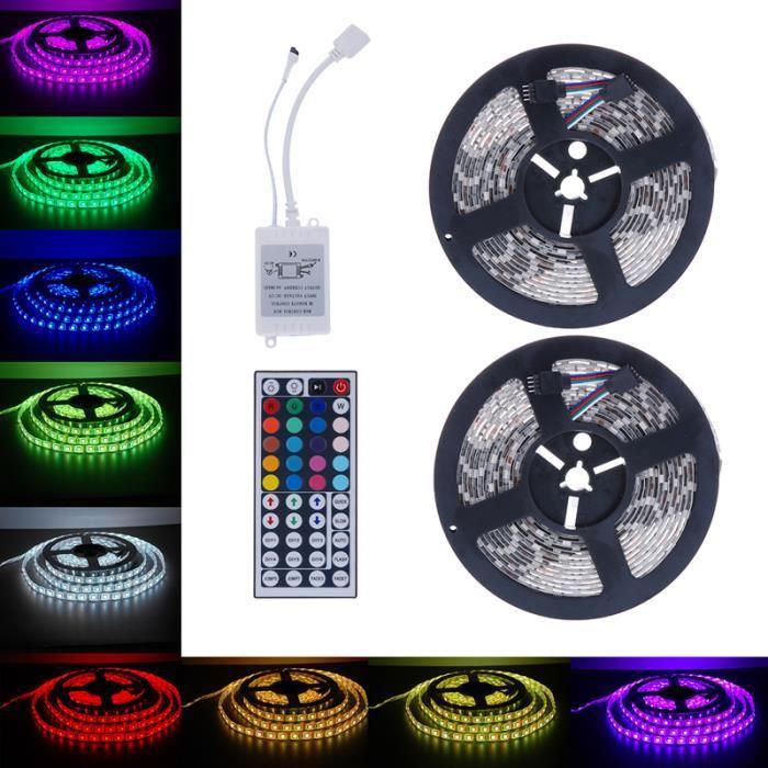 10M 5050 Smd Rvb 2X5m 600Leds Led bande de lumière 44 clé télécommande Ir