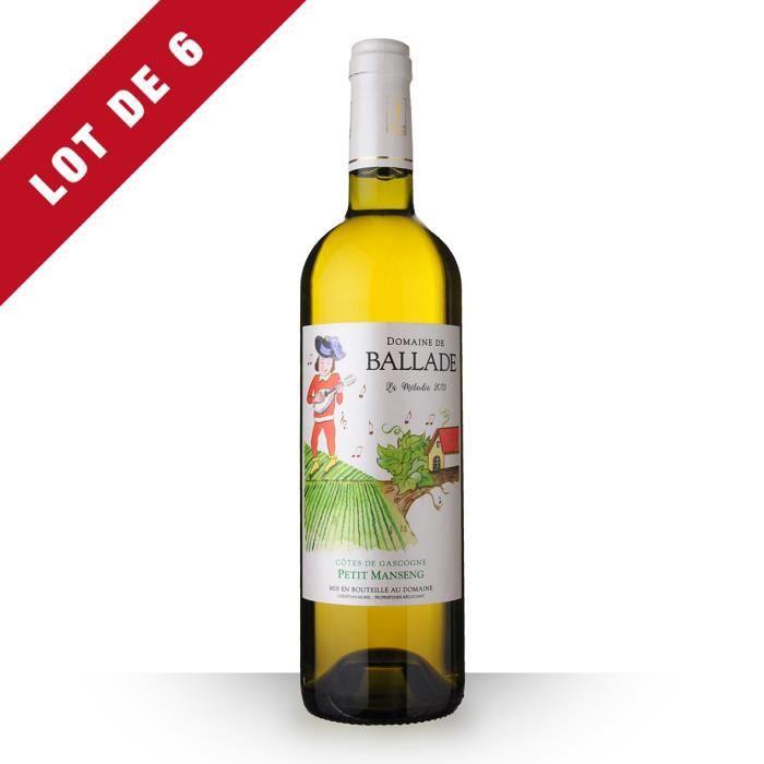 6X Domaine de Ballade Mélodie 2015 Blanc 75cl IGP Côtes de Gascogne - Vin Blanc moelleux et gourmand