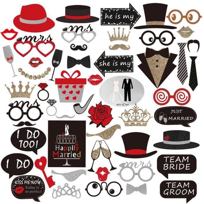 CHA 54 pièces Photobooth accessoires de cabine de Photo pour la fête d'anniversaire de mariage accessoires de cabine de Photo