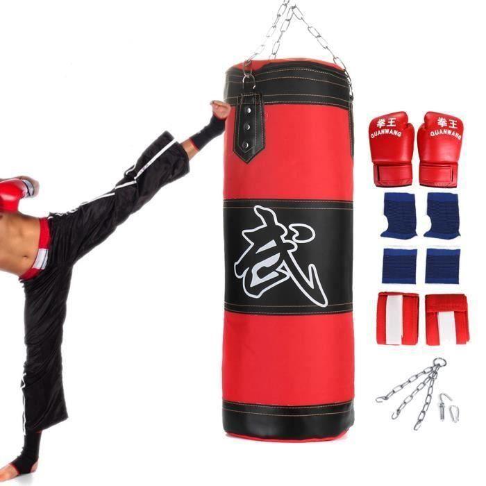 Sac de boxe frappe Rempli + suspension chaîne Crochet Gants bandage Sport 80cm Aw55877