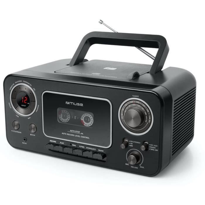 Muse M-182 Radio Stéréo avec Lecteur CD et Magnétophone à Cassettes avec Fonction d'enregistrement, Fonctionnement sur Batterie Poss
