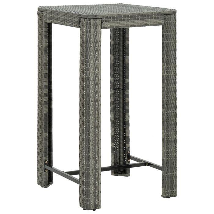 *7189Contemporain Table de bar de jardin Design Scandinave Décor - Mange-Debout Table de jardin Gris 60,5x60,5x110,5 cm Résine tress