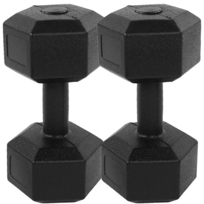 PET 2 x 5KG haltère hexagonal recouvert de caoutchouc poids à la main d'entraînement de gymnastique à domicile