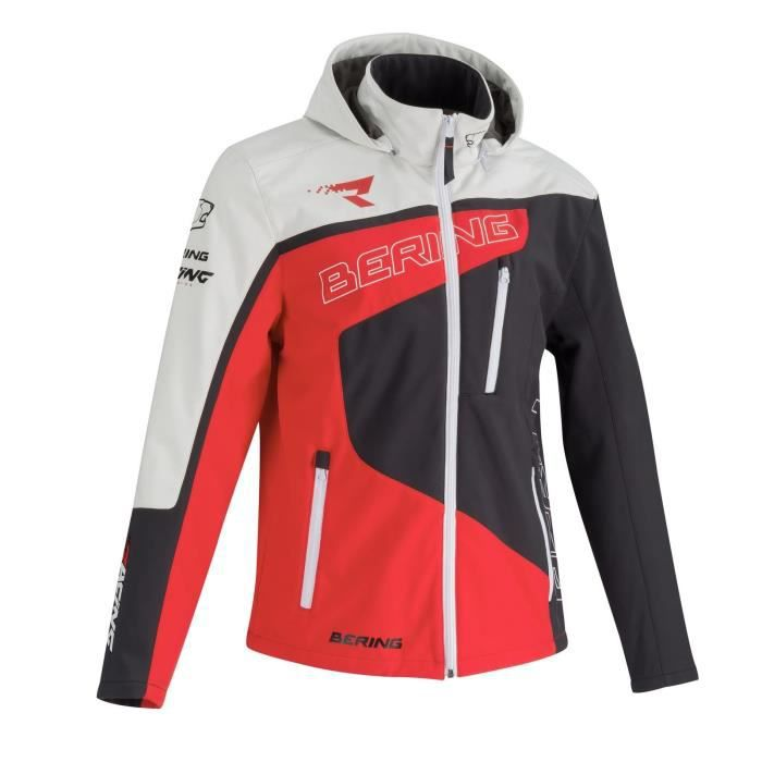 BERING Blouson moto Softshell racing - Homme - Rouge et blanc