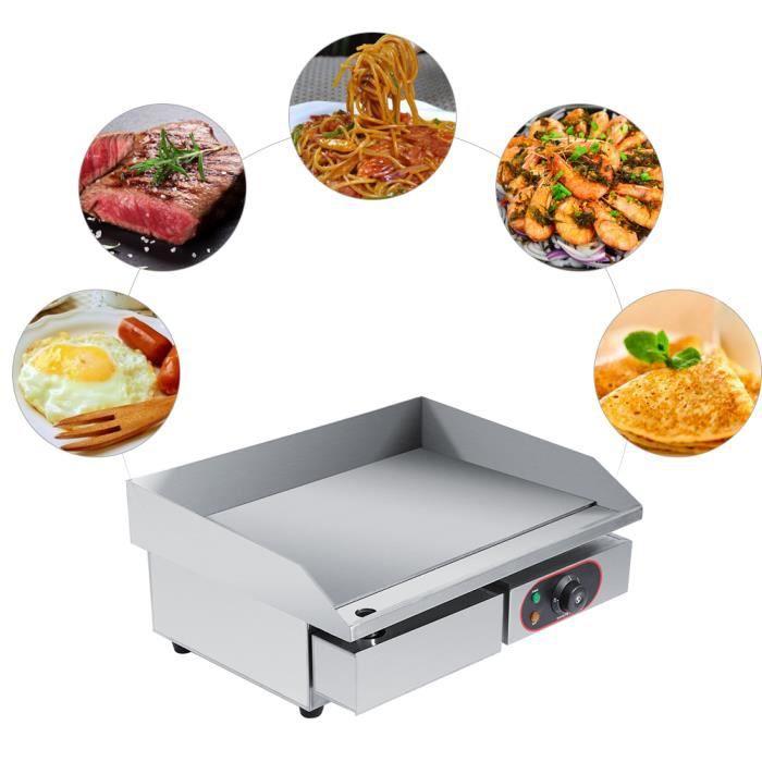 LIA Plancha Pro,3000W Gril Commercial Barbecue Plaque Chauffante Electrique en Acier Inoxydable