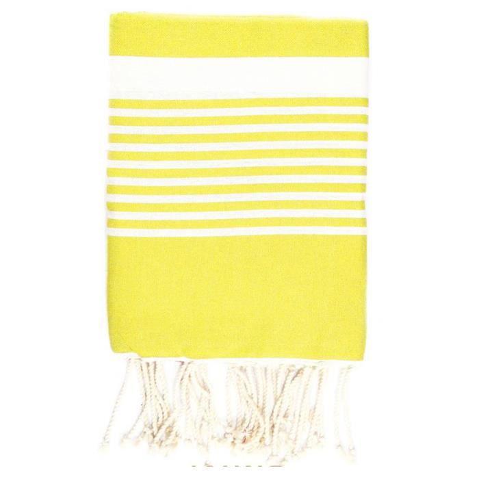 Fouta 100 cm x 200 cm Arthur jaune rayures blanches - 100% coton - finition franges