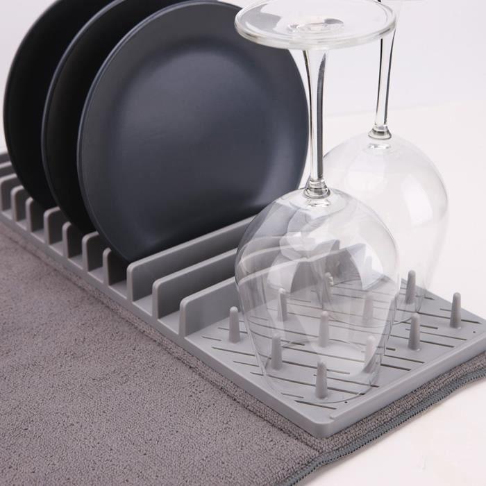 Égouttoir à vaisselle et son tapis de séchage pliable - Gris